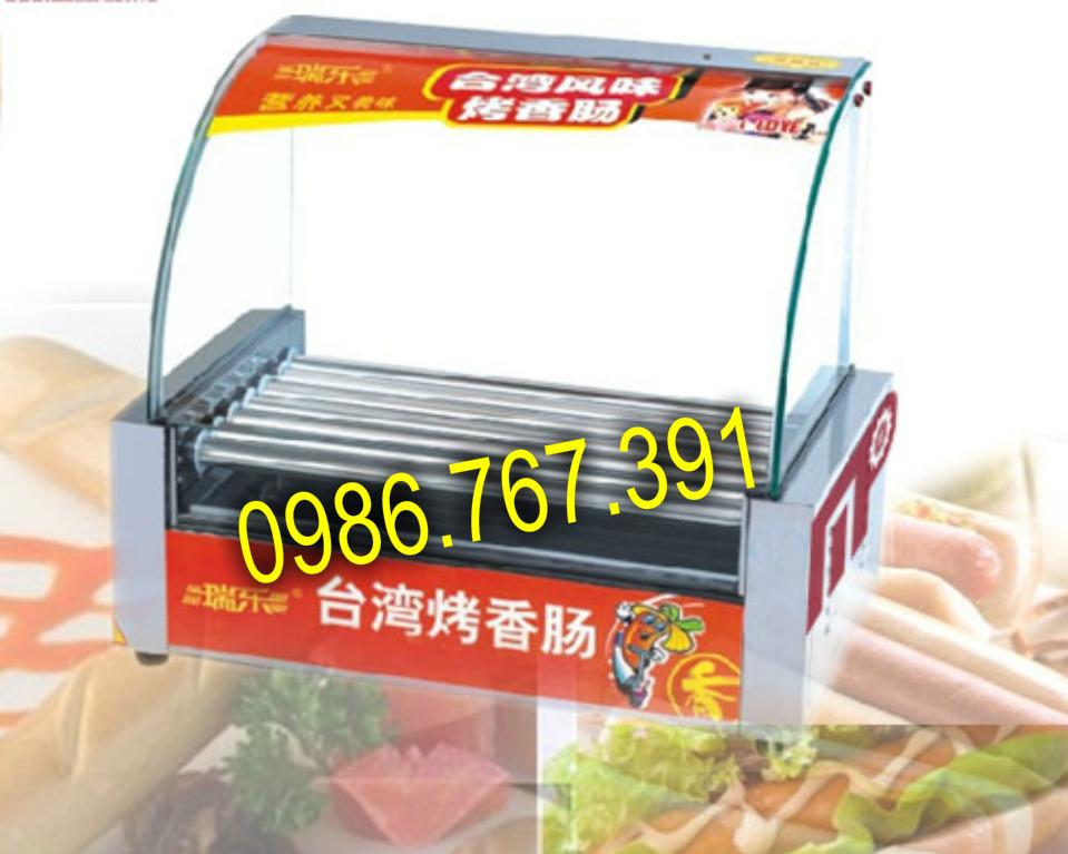 Máy nướng xúc xích lạp xưởng kính cong, 7 thanh nướng inox